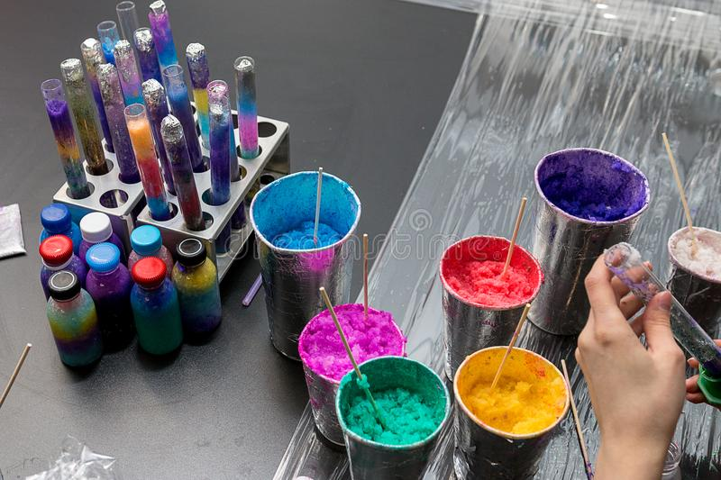 Materials for children`s chemical experiments stock photos