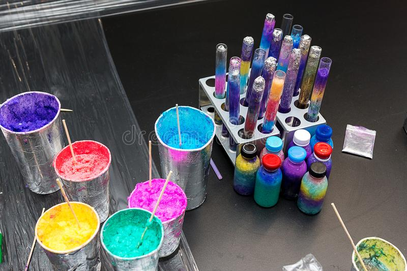 Materials for children`s chemical experiments royalty free stock photos
