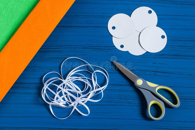 Materials for creativity, crafts and gifts packaging. Paper, tags, tapes stock photos