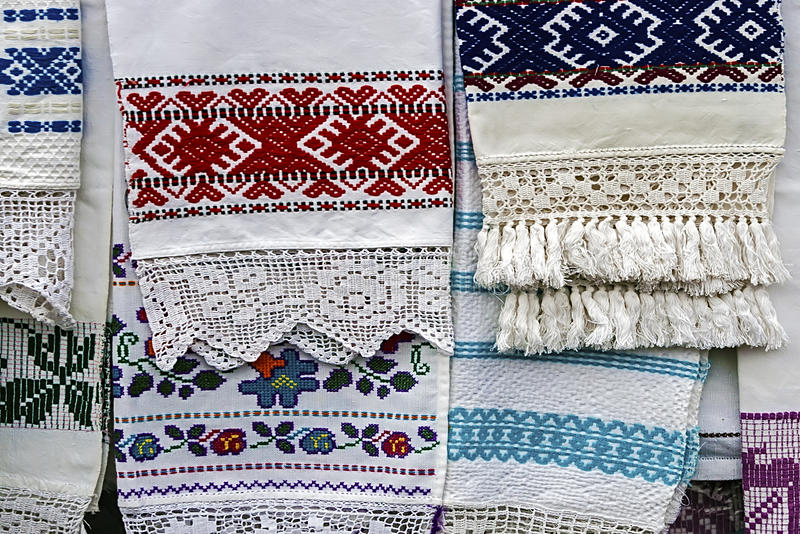 Materials and embroidered Romanian royalty free stock photography