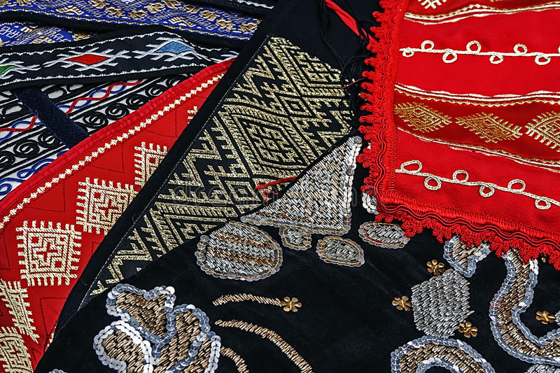 Materials and embroidered Romanian traditional 1 stock photography