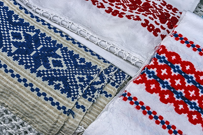 Materials and embroidered Romanian traditional stock photo