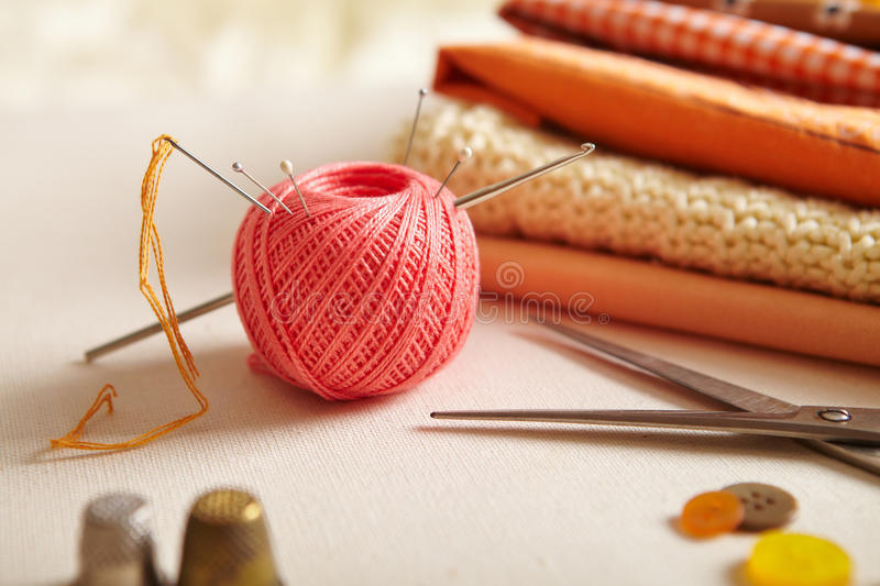 Materials for needlework. stock photography