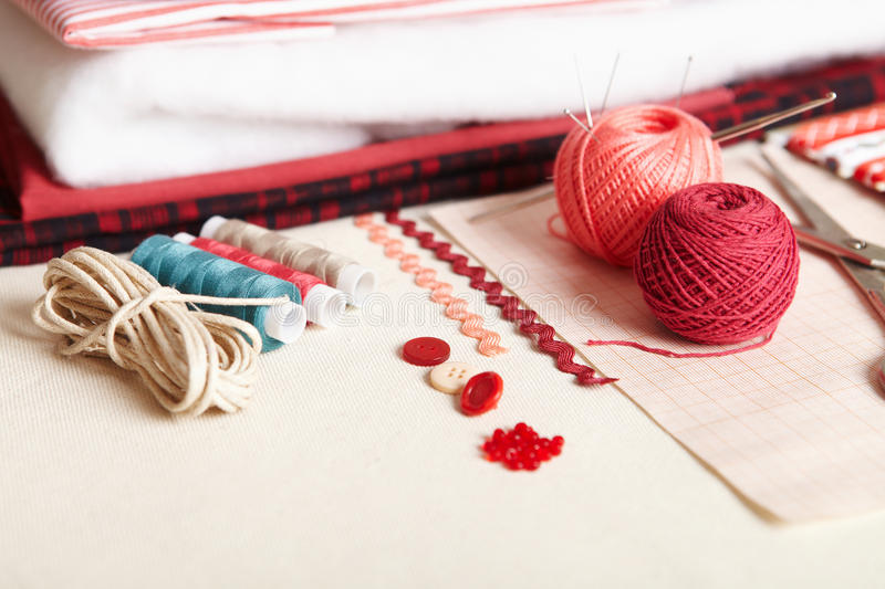 Materials for needlework. stock images