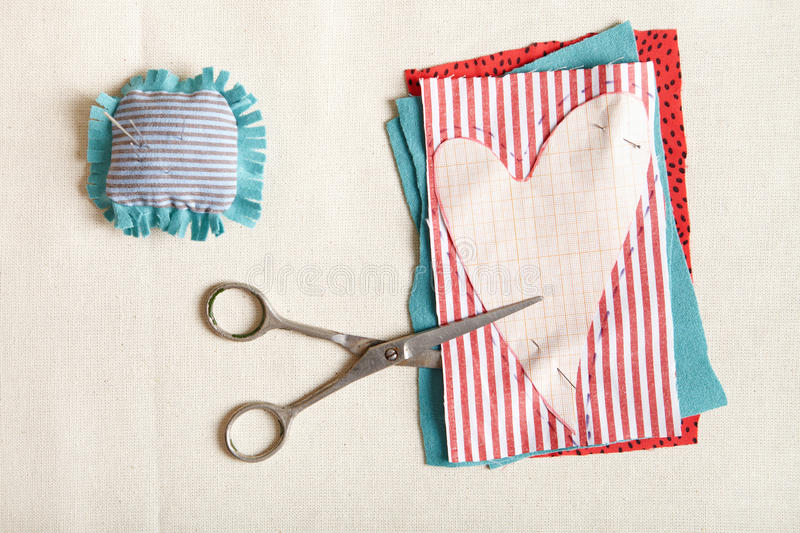 Materials for needlework. stock image