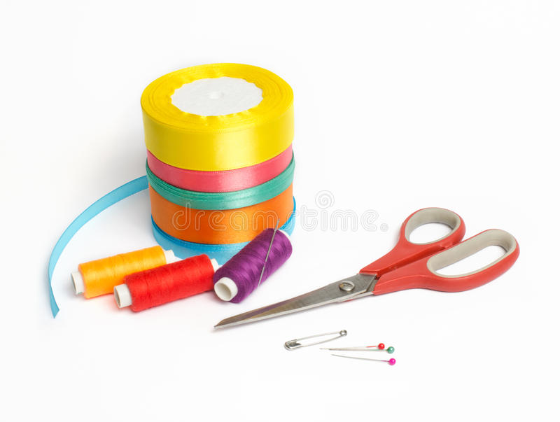 Materials for needlework and sewing stock photos