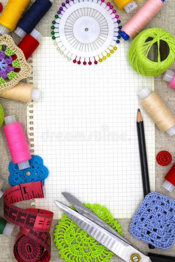 Materials and tools for needlework. stock photos