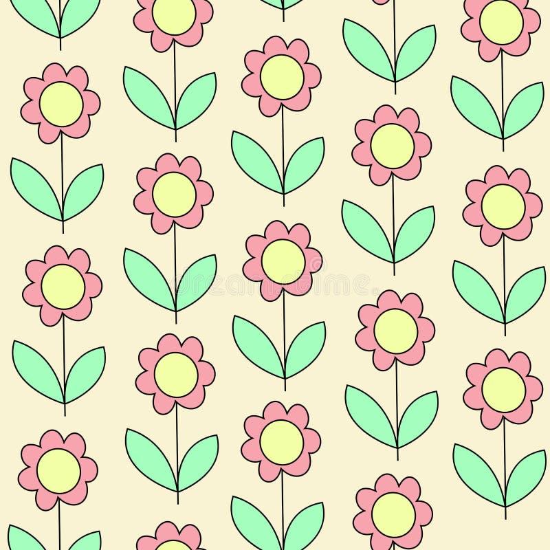 Materias textiles creativas hermosas Flor rosada en un fondo amarillo Papel pintado para el cuarto de niños Ilustraci?n del vecto ilustración del vector