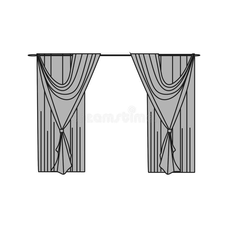 materias textiles interiores Decoración de la ventana cortinas stock de ilustración