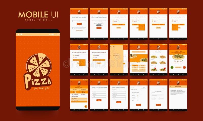 Materieel Ontwerp UI, UX en GUI voor Voedsel Mobiele Apps royalty-vrije illustratie