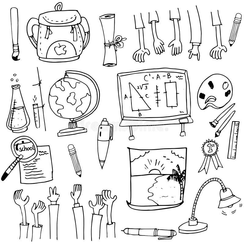 Materiel för skolaobjektsamling i klotter stock illustrationer