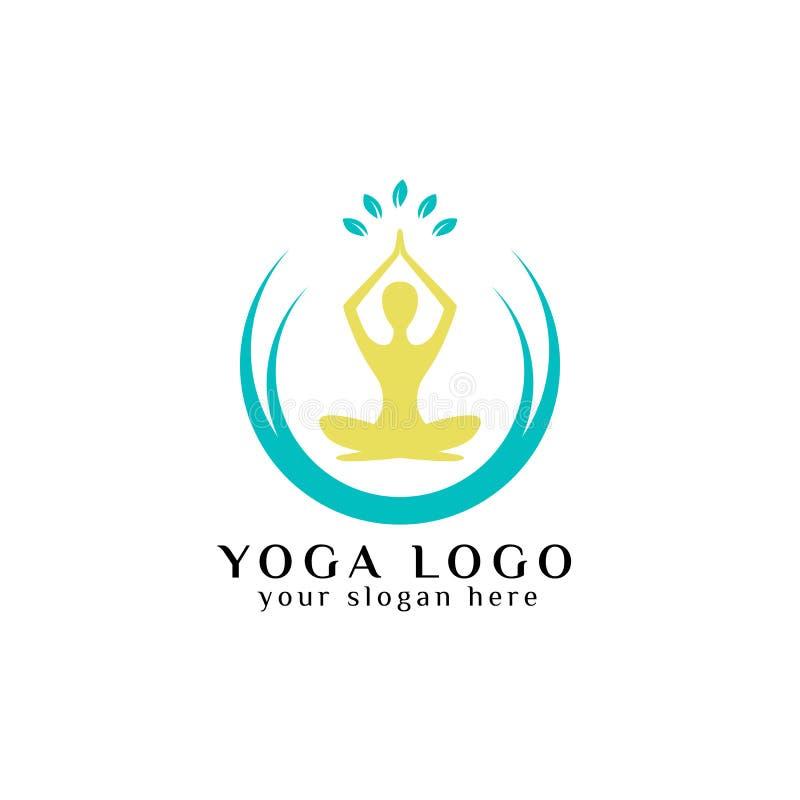 materiel för yogalogodesign mänsklig meditation i cirkel med sidor I royaltyfri illustrationer