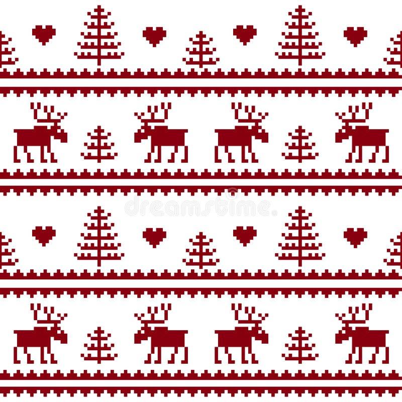 materiel Seamless tyg Glad jul och lyckligt nytt år älg royaltyfri illustrationer