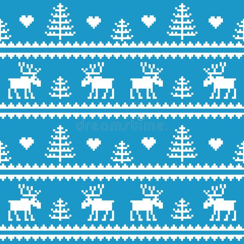 materiel Seamless tyg Glad jul och lyckligt nytt år älg Träd PIXEL Vit- och blåttfärg royaltyfri illustrationer