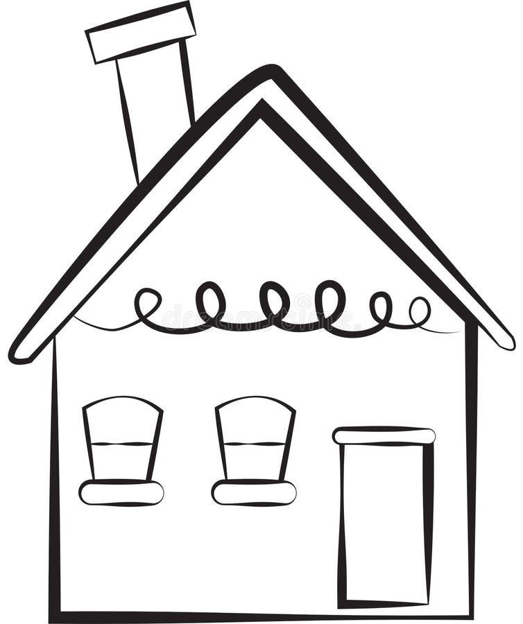 Materielbild: Enkelt hus royaltyfri illustrationer