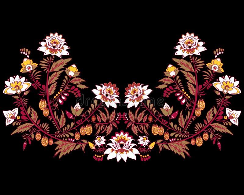 Materielblommor och bladprydnad orientalisk eller rysspatt royaltyfri illustrationer