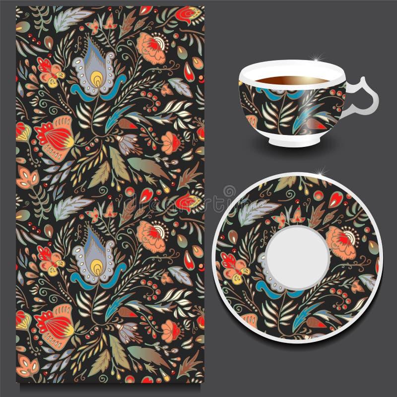Materielkopp kaffe och sömlös blom- orientalisk prydnad royaltyfri illustrationer