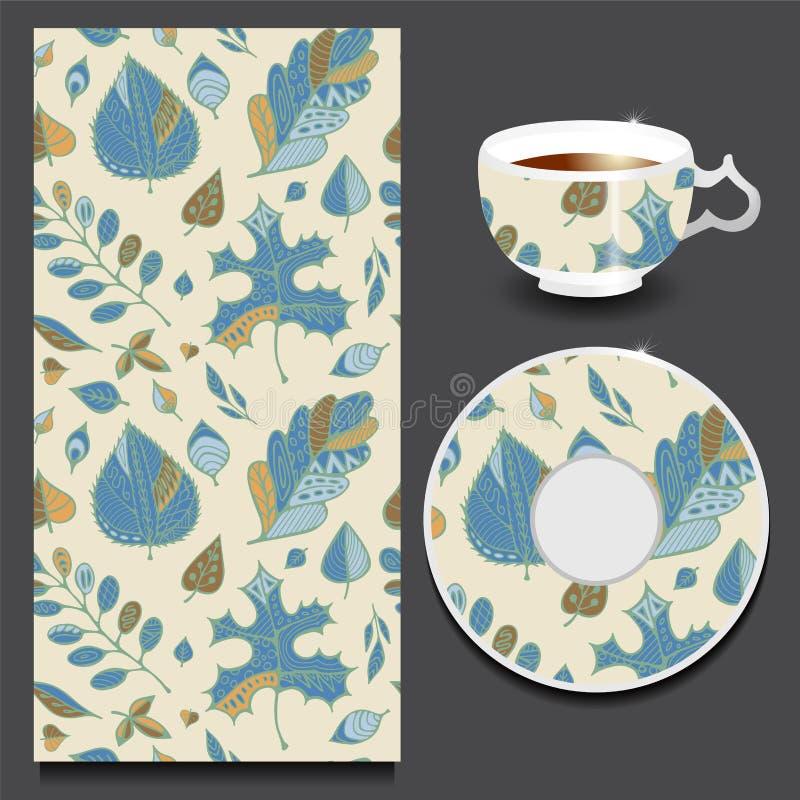 Materielkoppen kaffe och den sömlösa prydnaden med handen drar stock illustrationer
