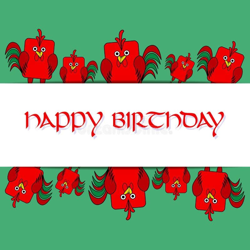 Materielkortmall för children& x27; s-födelsedagparti Plan fågeldesign Grön och röd tupp för rundad rektangel, hane royaltyfri illustrationer