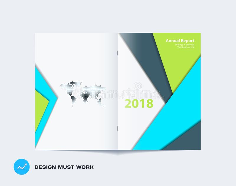 Materiell design av broschyruppsättningen, abstrakt årsrapport, horisontalräkning stock illustrationer