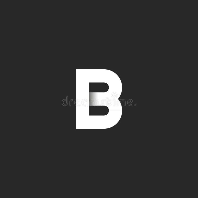 Materiell design för elegant för b-bokstavslogo snitt för papper, idérikt identitetssymbol för emblem för affärskort stock illustrationer