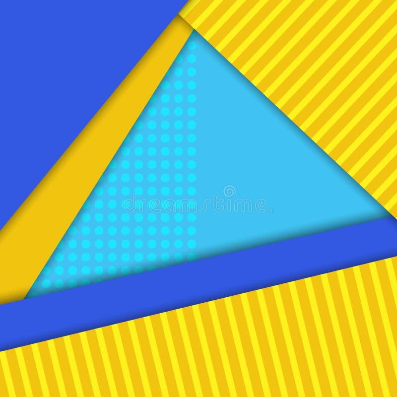 Materiell designvektorbakgrund, blått, guling färgar vektor illustrationer