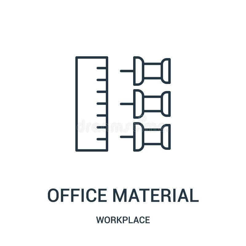 materiell symbolsvektor för kontor från arbetsplatssamling Tunn linje för översiktssymbol för kontor materiell illustration för v vektor illustrationer