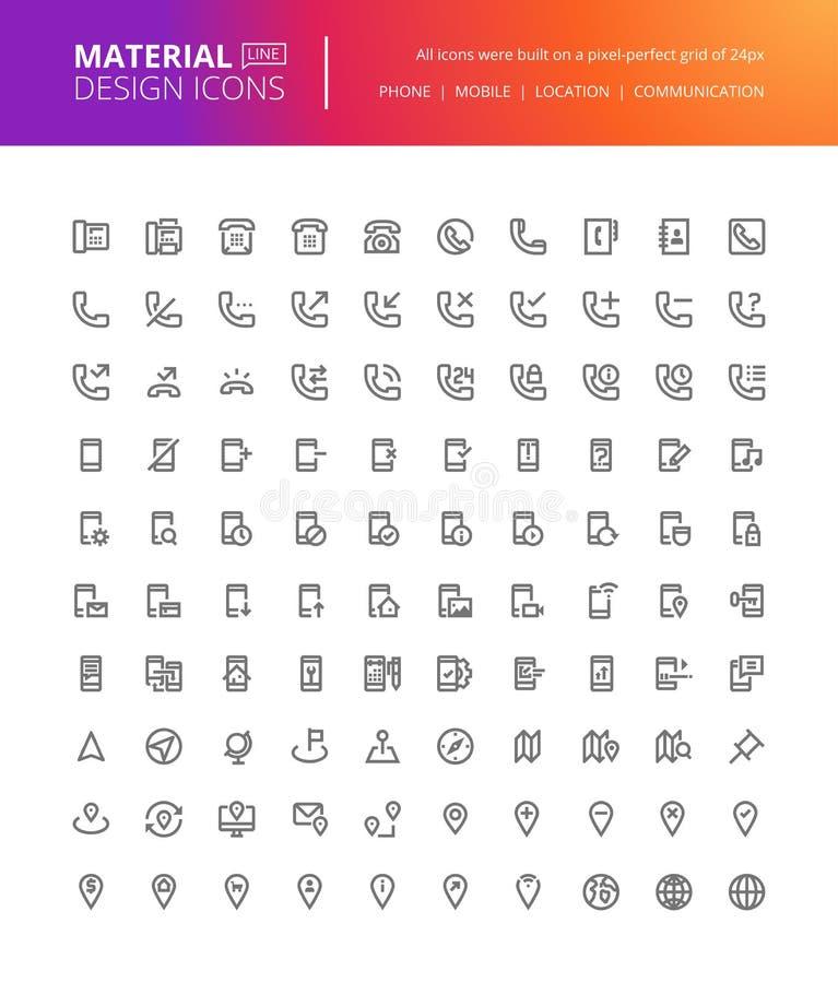 Materiell uppsättning för designkommunikations- och navigeringsymboler stock illustrationer