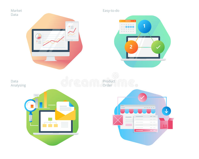 Materiella designsymboler ställde in för affär, ledning, marknadsföring, e-kommers och shopping stock illustrationer