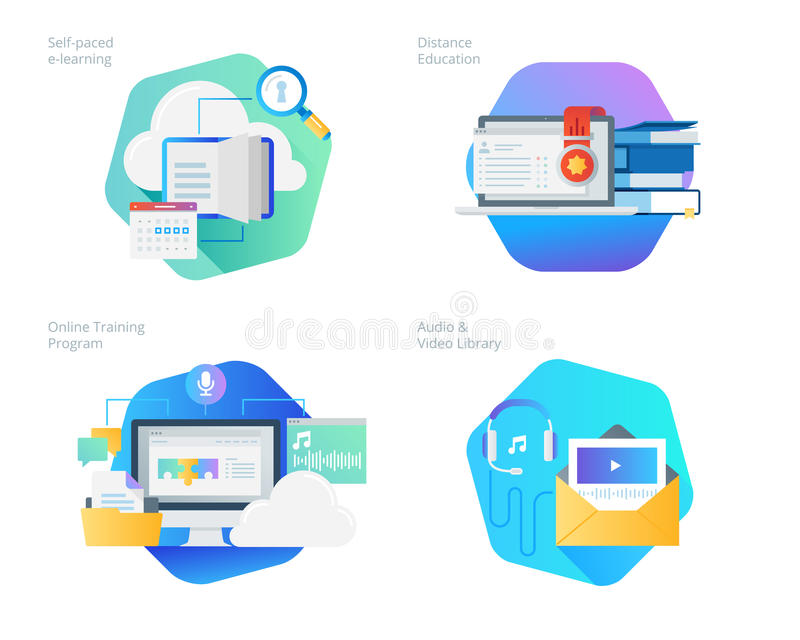 Materiella designsymboler ställde in för avståndsutbildning, ljudsignal- och videoarkivet, online-utbildning och kurser, e-lära m royaltyfri illustrationer
