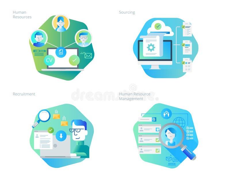 Materiella designsymboler ställde in för personalresurser, rekrytering, timme-ledning, karriär vektor illustrationer