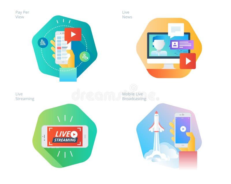 Materiella designsymboler ställde in för tryckning direkt, mobil radioutsändning, lön per sikten, online-videoen, nyheterna royaltyfri illustrationer