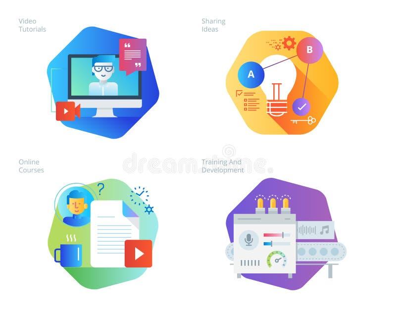 Materiella designsymboler ställde in för utbildning, videopp tutorials, online-kurser, utbildning och utveckling som delar idéer stock illustrationer