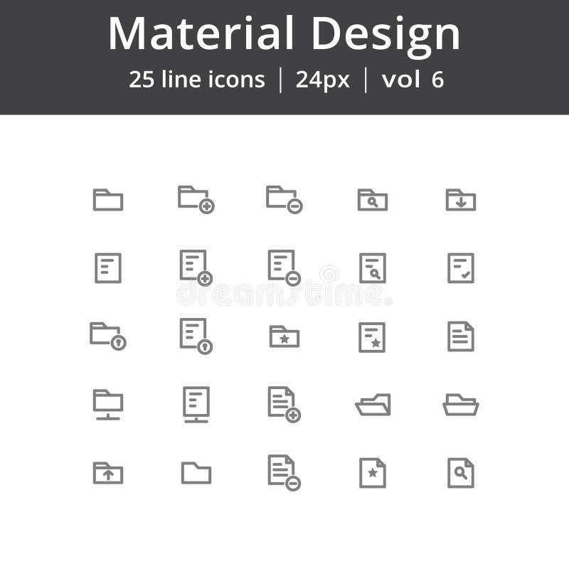 Materielle Design-Ordner-Linie Ikonen stock abbildung