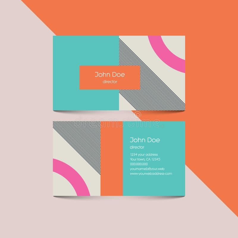 Materielle Designvisitenkarteschablone mit Hintergrund der Art 80s Moderne Retro- Elemente und geometrische Formen lizenzfreie abbildung