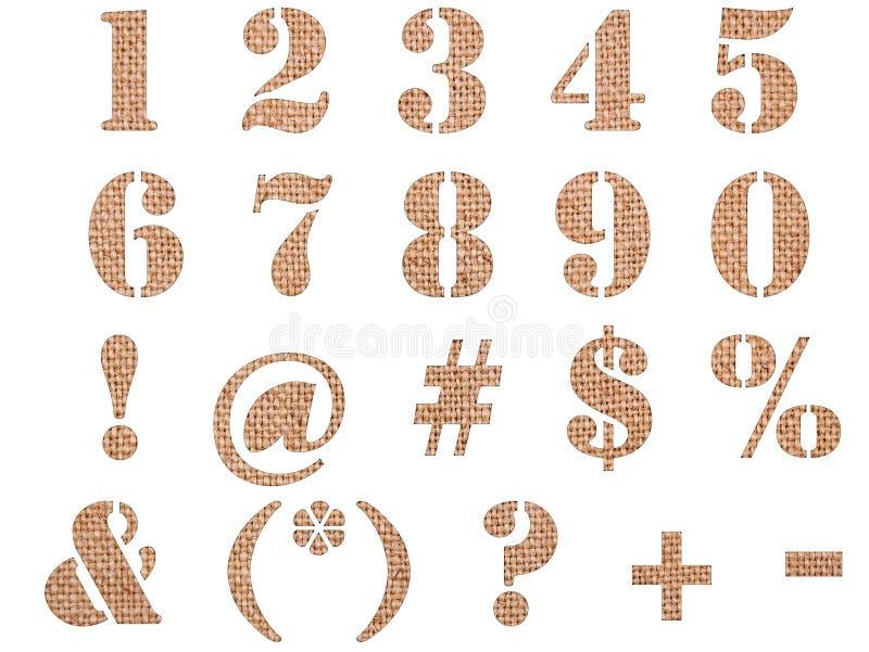 Materielle strukturierte Zahlen, Zeichen und Symbole der Leinwand lizenzfreie stockfotografie