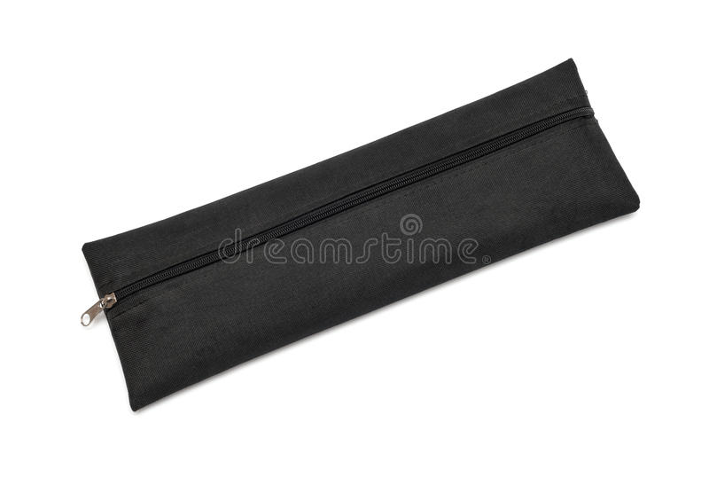 Materieller Kasten des schwarzen Stoffes für Bürsten oder Bleistifte lizenzfreies stockfoto