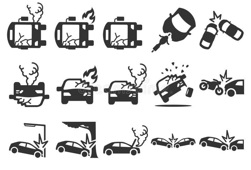 Materielvektorillustration: Symboler för bilkrasch stock illustrationer
