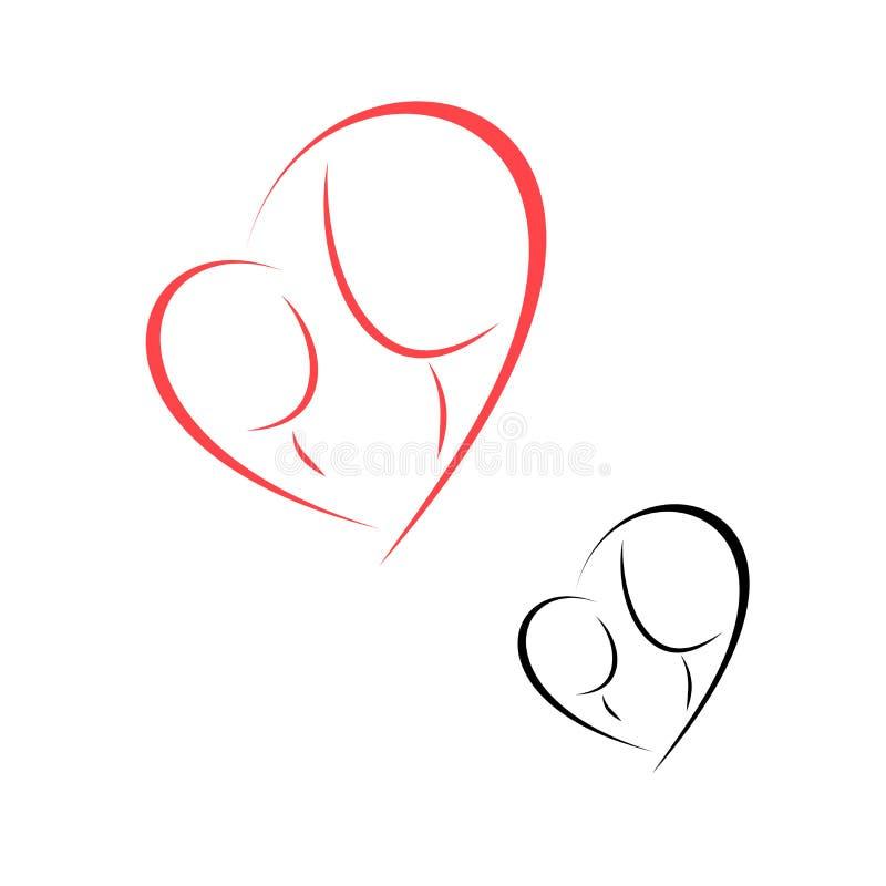 Maternidad y niñez del logotipo ilustración del vector
