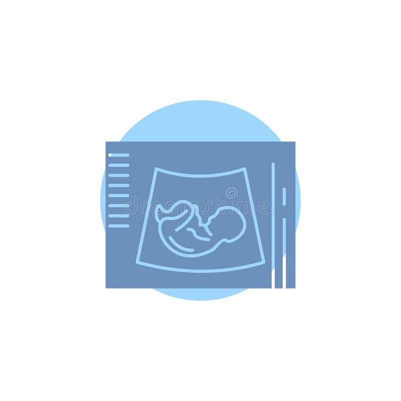 Maternidade, gravidez, sonogram, bebê, ícone do Glyph do ultrassom ilustração do vetor