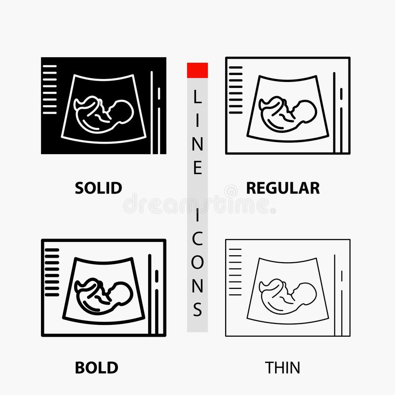 Maternidade, gravidez, sonogram, bebê, ícone do ultrassom na linha e no estilo finos, regulares, corajosos do Glyph Ilustra??o do ilustração royalty free