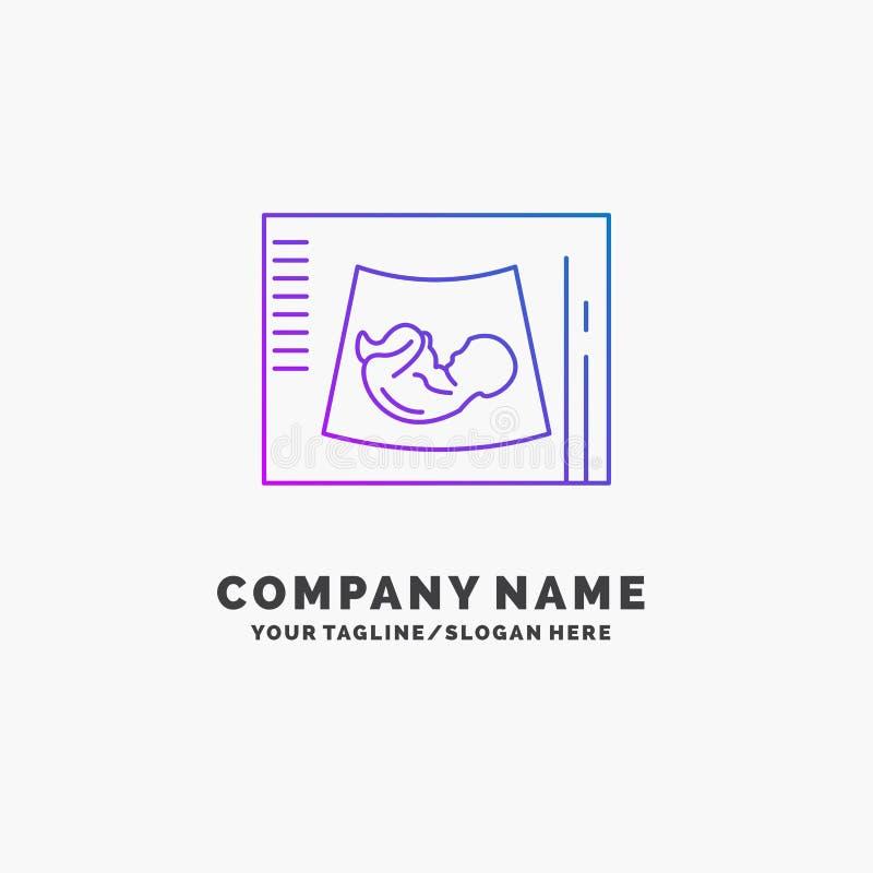 Maternidade, gravidez, sonogram, bebê, negócio roxo Logo Template do ultrassom Lugar para o Tagline ilustração royalty free