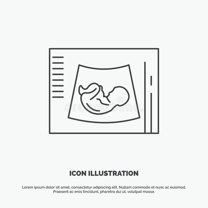 Maternidade, gravidez, sonogram, beb?, ?cone do ultrassom Linha s?mbolo cinzento do vetor para UI e UX, Web site ou aplica??o m?v ilustração stock