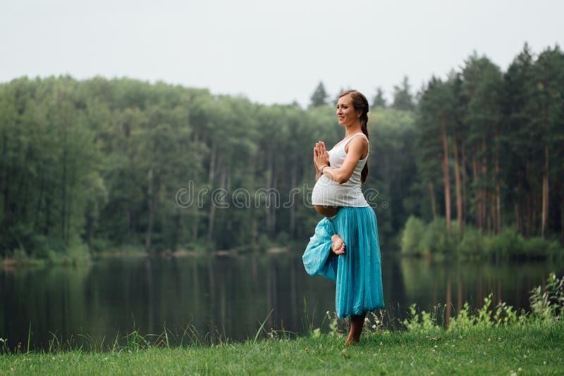 Maternidade pré-natal da ioga grávida que faz exercícios diferentes no parque na grama, respiração, esticando, estática fotos de stock