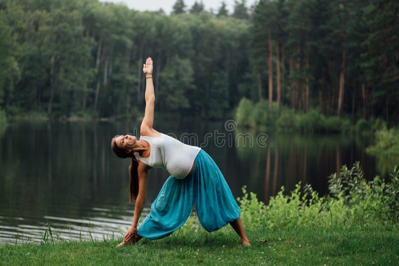Maternidade pré-natal da ioga grávida que faz exercícios diferentes no parque na grama, respiração, esticando, estática foto de stock