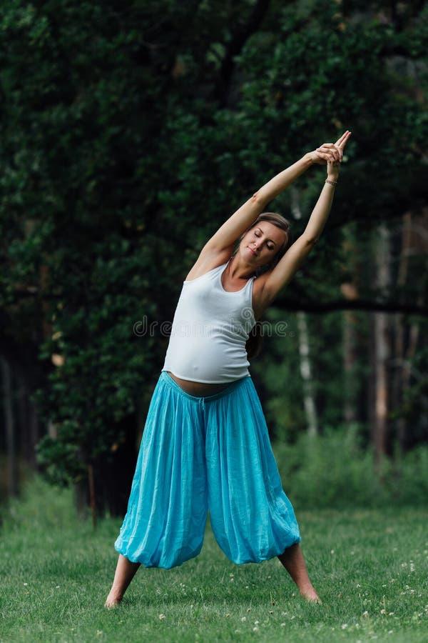 Maternidade pré-natal da ioga grávida que faz exercícios diferentes no parque na grama, respiração, esticando, estática imagem de stock royalty free