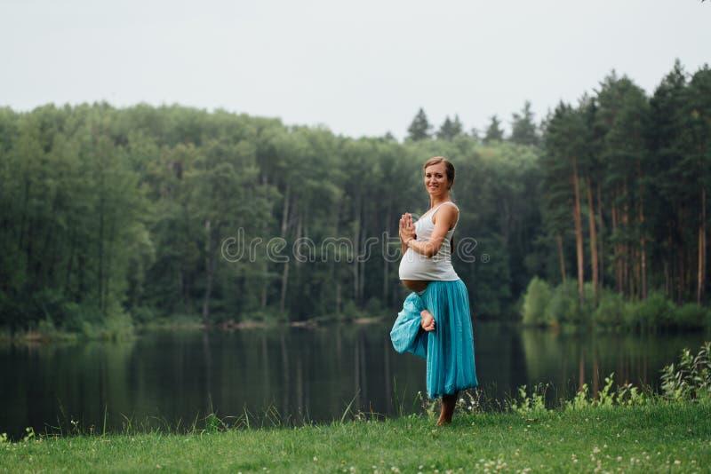 Maternidade pré-natal da ioga grávida que faz exercícios diferentes no parque na grama, respiração, esticando, estática fotografia de stock