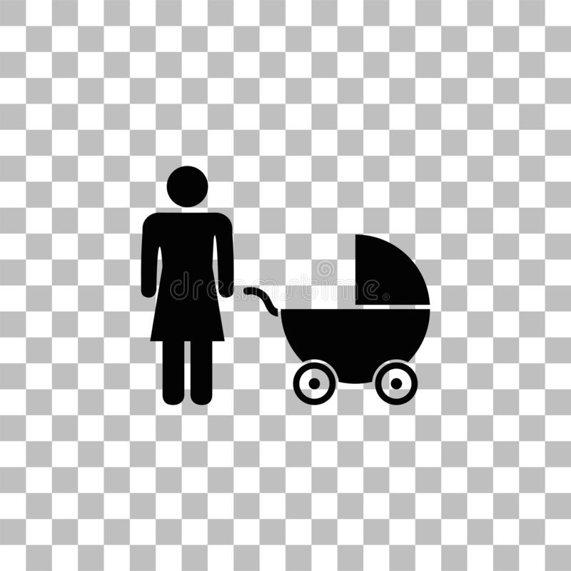 Maternity icon flat. Maternity. Black flat icon on a transparent background. Pictogram for your project stock illustration