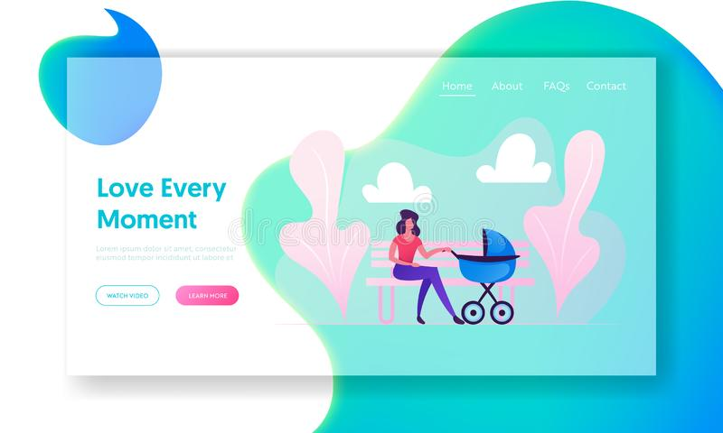 Maternity Childhood Website Landing Page. Young Woman Sitting on Bench with Baby Stroller Lulling Child in City Park. Mother stock images