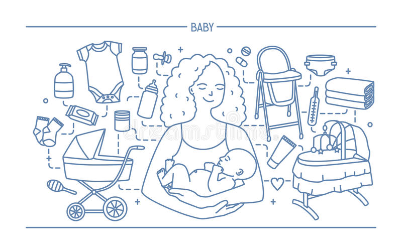 Maternity concept. Horizontal banner with mother and baby, different children s accessories. Line art vector. Illustration royalty free illustration
